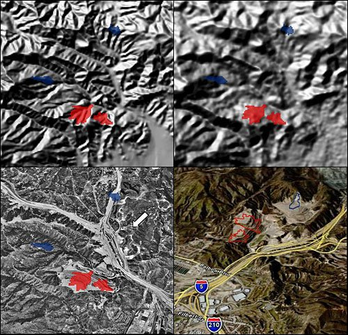 Topographic surface change resulting from landfill operation (Sunshine Canyon landfill in Sylmar, California). The images are NED shaded relief (upper left), SRTM shaded relief (upper right), aerial photograph (lower left), and perspective view (lower right). Change polygons (blue = cut; red = fill) have been overlaid on each image. The arrow indicates the view direction (toward the southwest) for the perspective view.