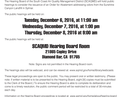 SCAQMD Hearing Board Hearings on Sunshine Canyon Landfill